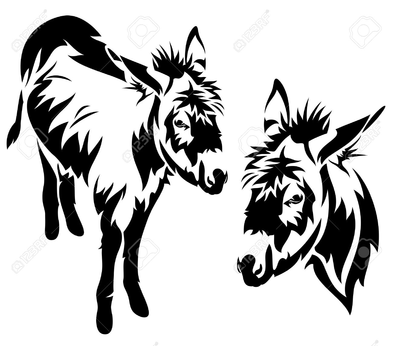 1300x1146 Clipart Donkey With Elephant Black And White Collection