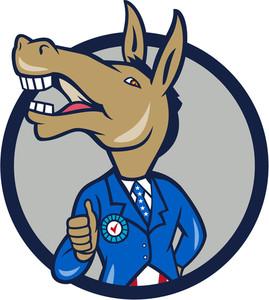 269x300 Democrat Donkey Mascot Thumbs Up Flag Royalty Free Stock Image