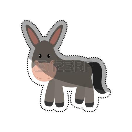 450x450 Donkey Animal Cartoon Icon Vector Illustration Graphic Design