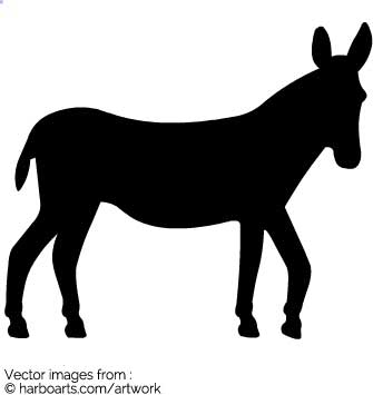 335x355 Download Donkey Standing Silhouette