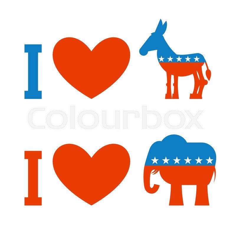800x800 I Love Democrat. I Like Republican. Symbol Of Heart, Donkey