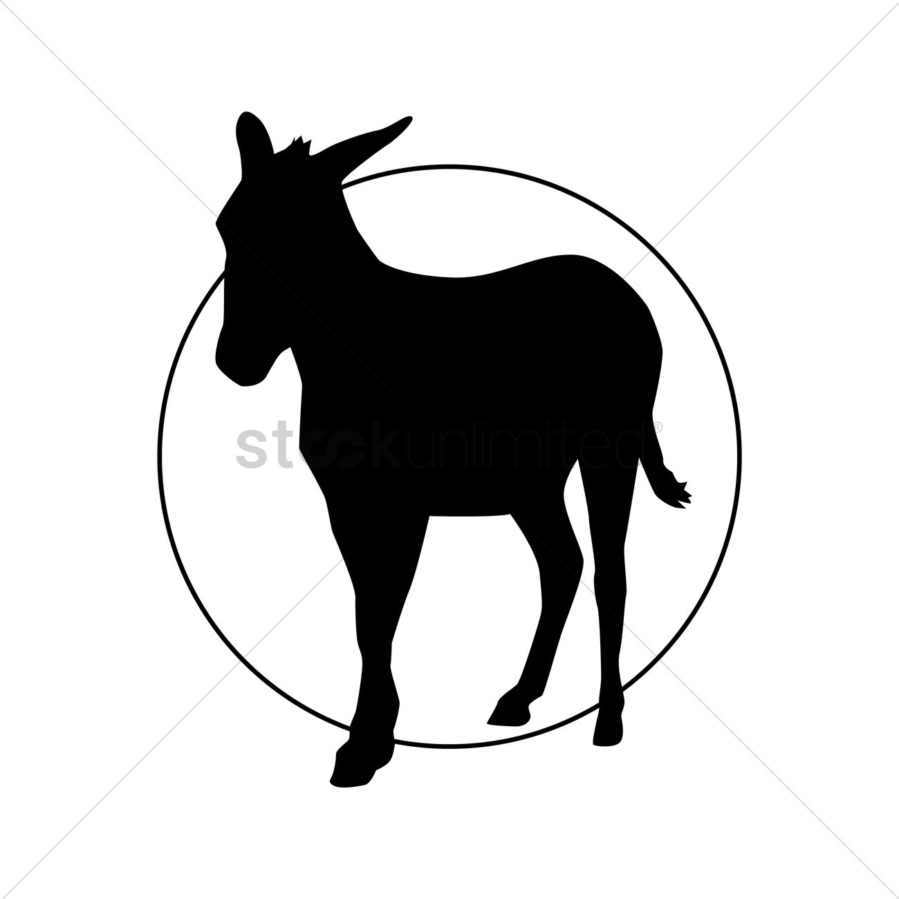1300x1300 Silhouette Of Donkey Vector Image