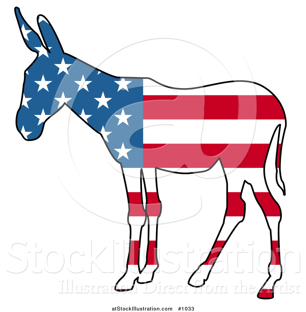 1024x1044 Vector Illustration Of A Democratic Donkey American Flag By