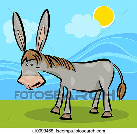 450x437 Clip Art Of Cartoon Illustration Of Donkey K10093468