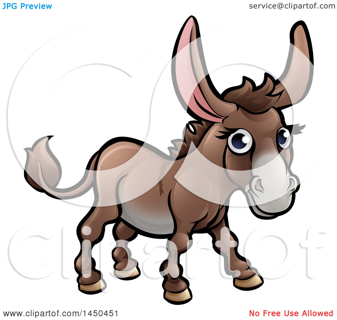 1080x1024 Clipart Graphic Of A Cartoon Happy Brown Donkey