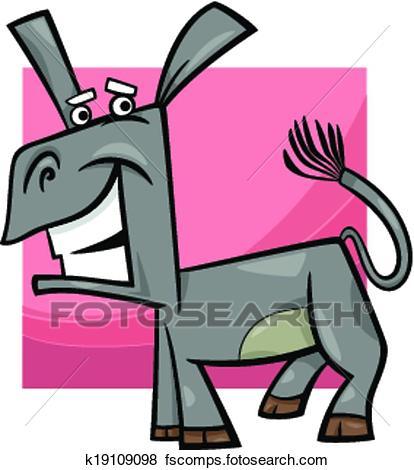 414x470 Clip Art Of Funny Donkey Cartoon Illustration K19109098