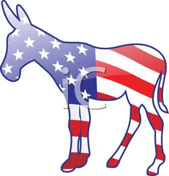 336x350 American Flag Democrat Donkey