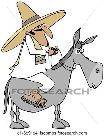358x470 Drawings Of Mexican Man Riding A Donkey K17659154