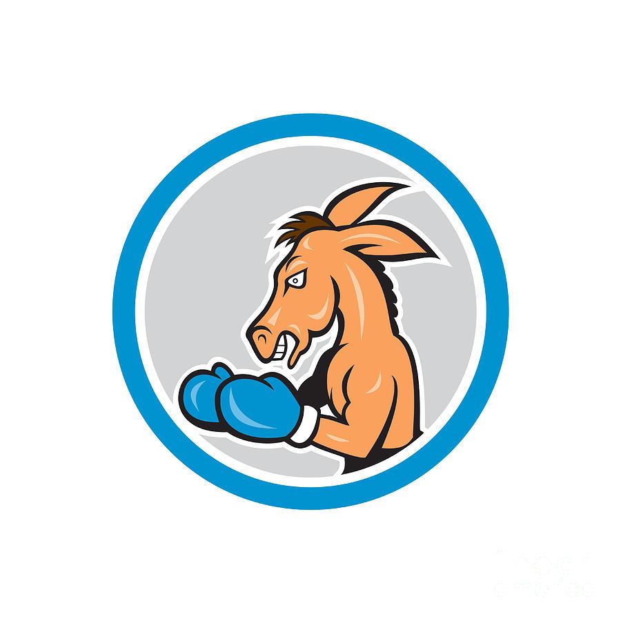 900x900 Donkey Boxing Side View Circle Cartoon Digital Art By Aloysius