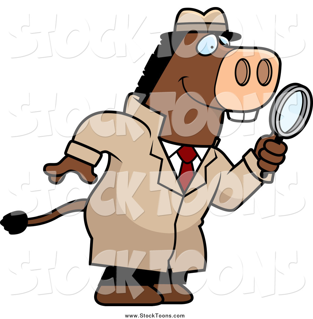 1024x1044 Stock Cartoon Of A Donkey Detective Searching With A Magnifying