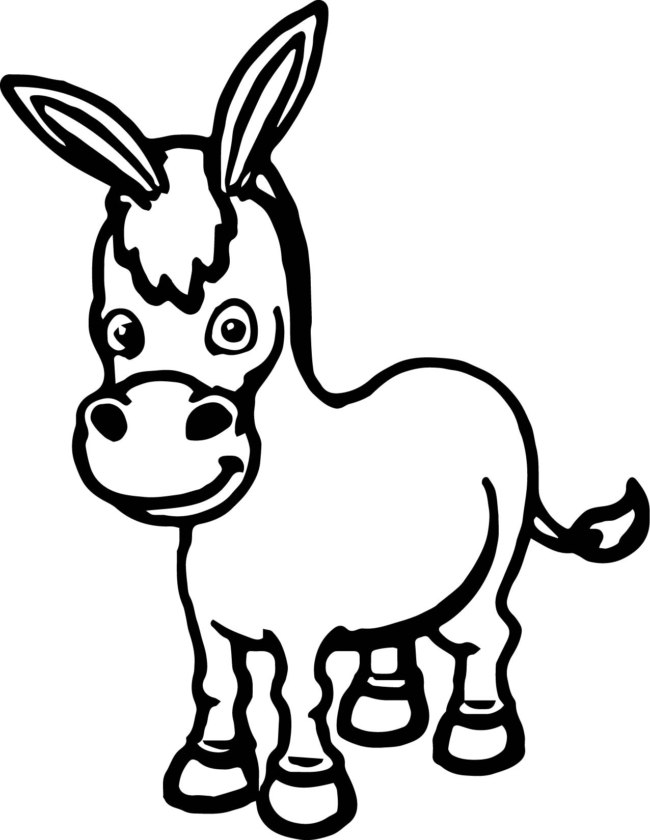 1276x1650 Cartoon Cute Donkey Coloring Page Wecoloringpage