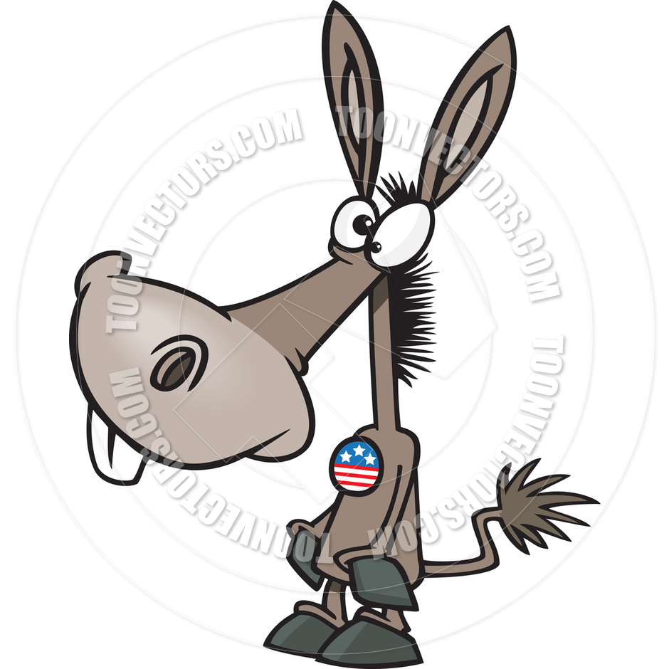 940x940 Cartoon Democrat Donkey Voter By Ron Leishman Toon Vectors Eps