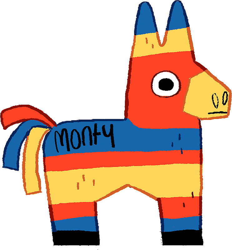 743x800 Monty The Pinata Stickers By Doodledate Redbubble