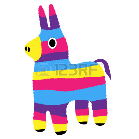 450x450 Traditional Mexican Brightly Pinata, Black And White Sketch Style