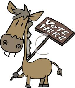 256x300 Donkey Holding A Vote Here Sign