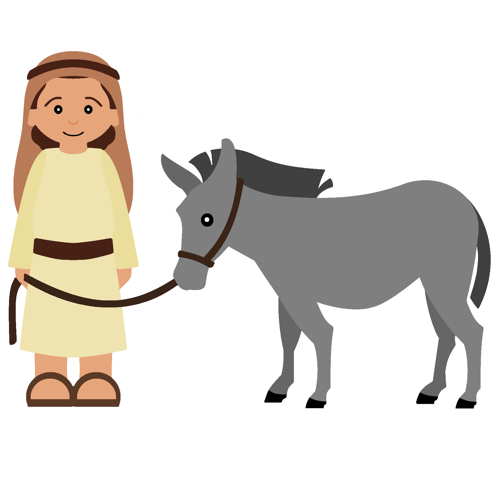 1600x1600 Mary And Joseph On A Donkey Clipart