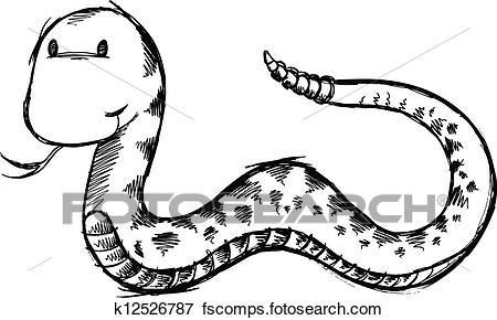 450x290 Clip Art Of Cute Snake Sketch Doodle Vector Art K12526787
