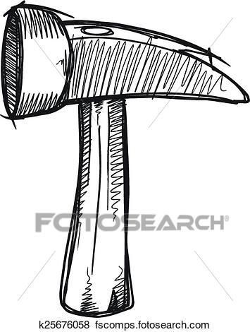 355x470 Clip Art Of Doodle Sketch Hammer Vector Art K25676058