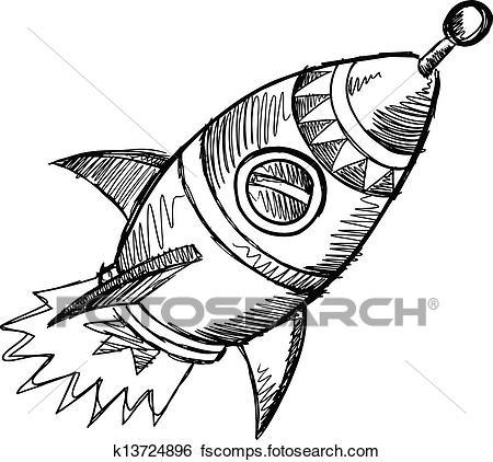 450x422 Clip Art Of Rocket Sketch Doodle Vector Art K13724896