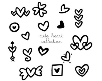 340x270 Heart Clip Art Doodles Printable Wedding Clipart Black Amp