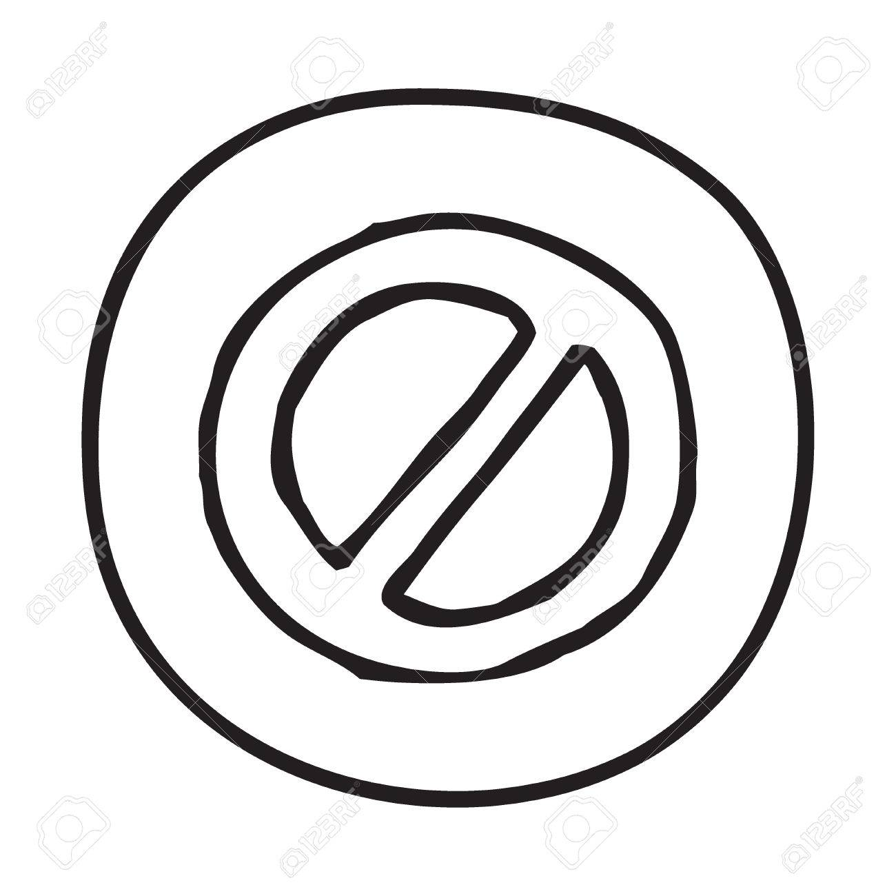 1300x1300 Doodle Prohibition Icon. Infographic Symbol In A Circle. Line