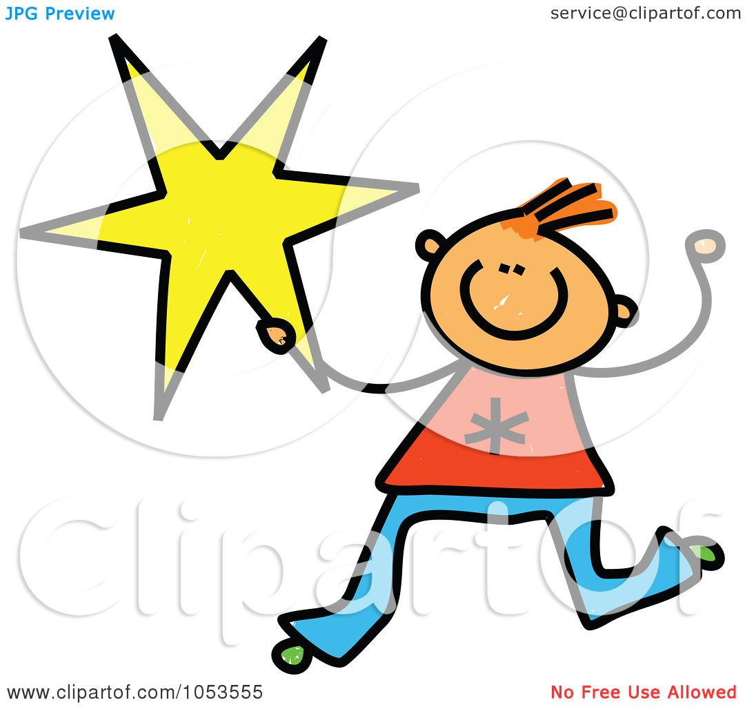 1080x1024 Royalty Free Clip Art Illustration Of A Doodle Boy Holding A Star