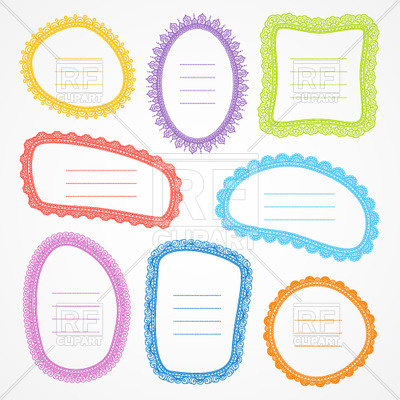 400x400 Set Of Multi Coloured Blank Doodle Frames Royalty Free Vector Clip