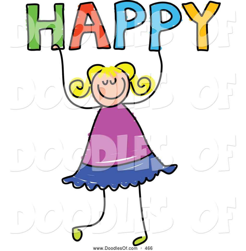 1024x1044 Vector Clipart Of A Happy Girl Holding The Word Happy By Prawny