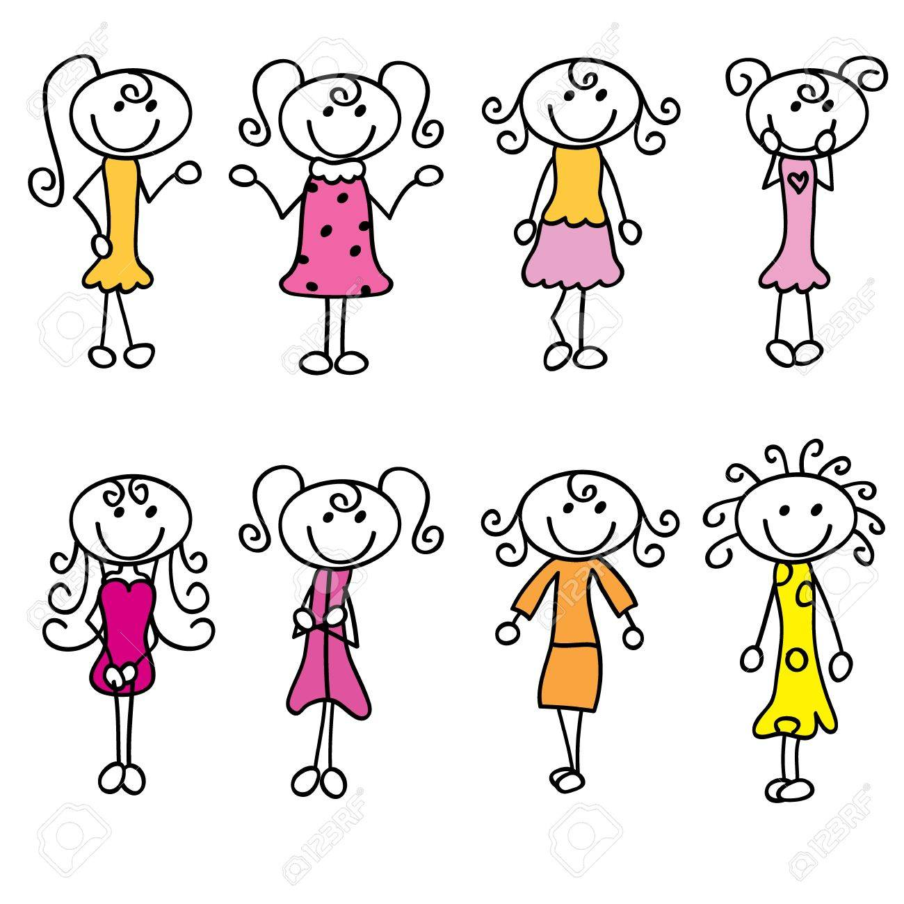 1300x1300 Cartoon Girls Doodle With Fashion, And Style Royalty Free Cliparts
