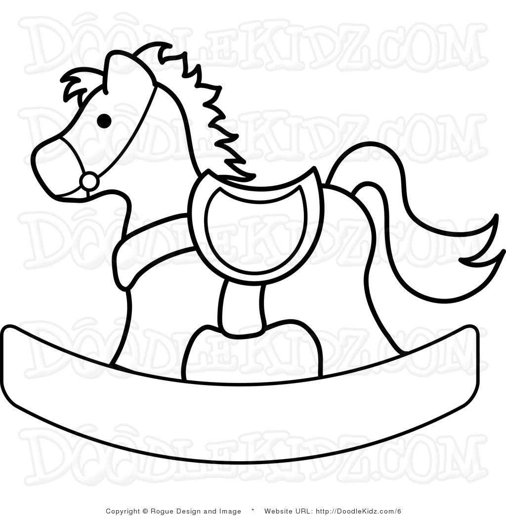 1024x1044 Clip Art Illustration Of A Rocking Horse Coloring Page Feltro