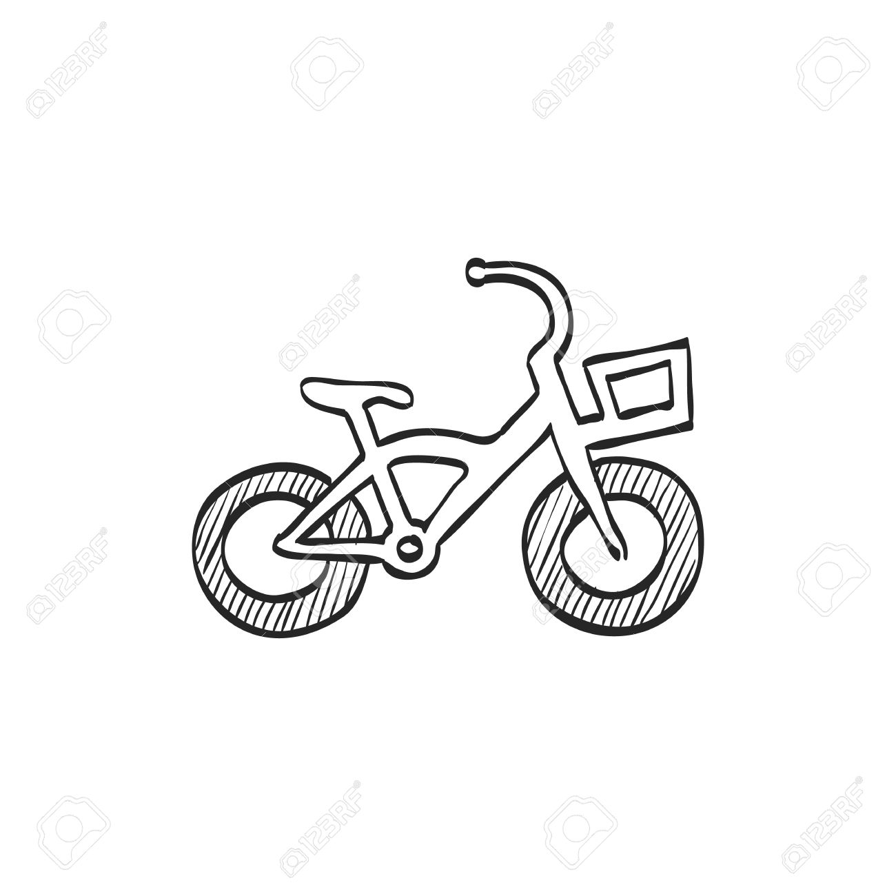 1300x1300 Kids Bicycle Icon In Doodle Sketch Lines. Playing Game Toy Royalty