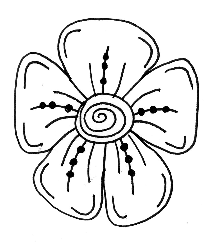 876x980 Line Drawing Flowers Pic