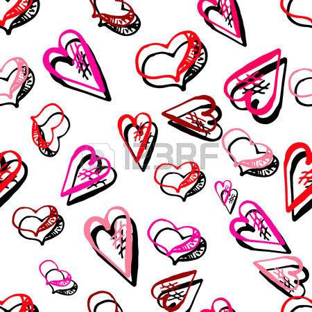 450x450 Unusual Hand Drawing Doodled Pattern With Romantic Hearts. Hand