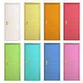 170x170 Clip Art Of Collection Of Colorful Doors. Vector Design. K16518752