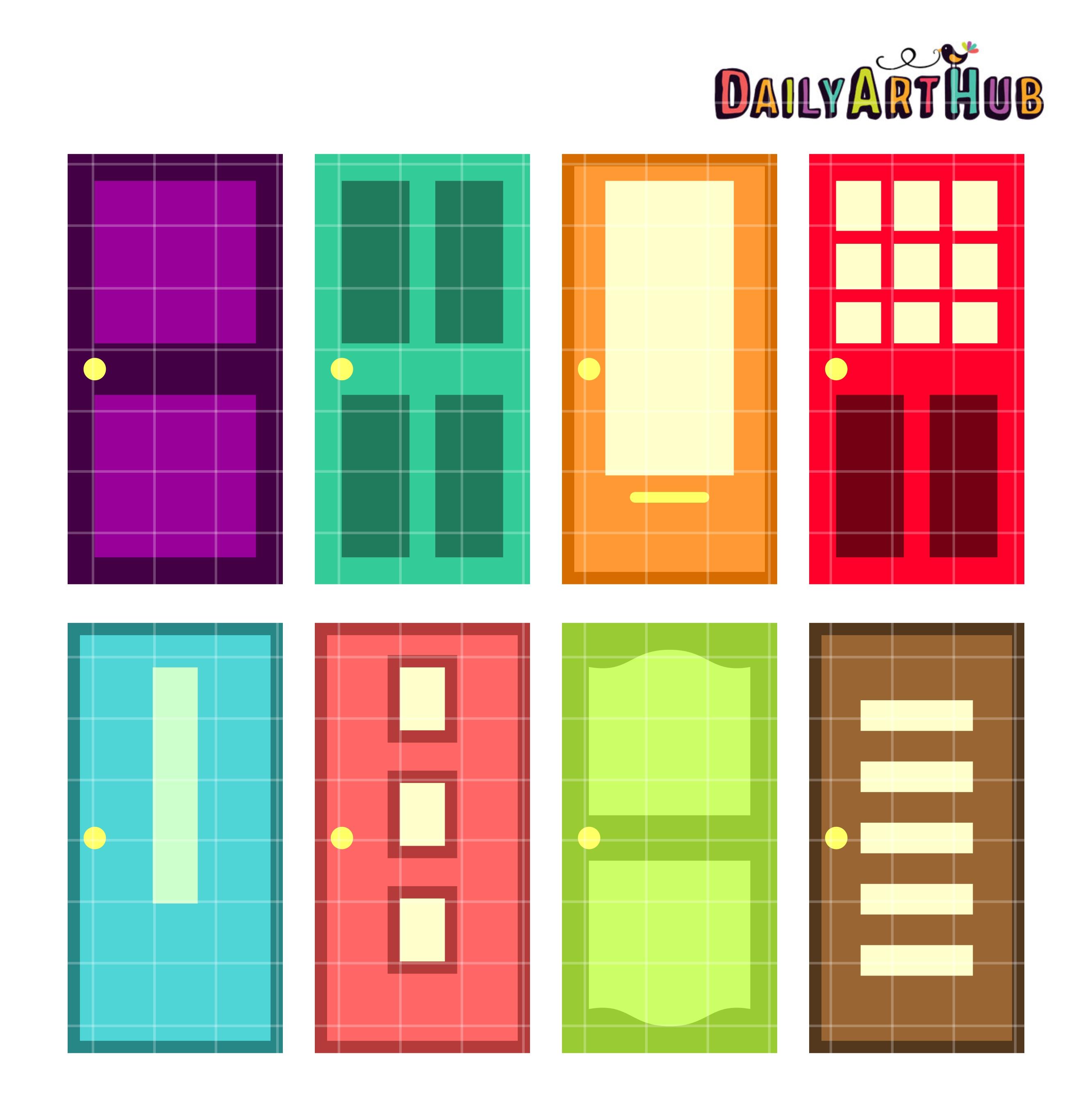 2664x2670 Colorful Doors Clip Art Set Daily Art Hub