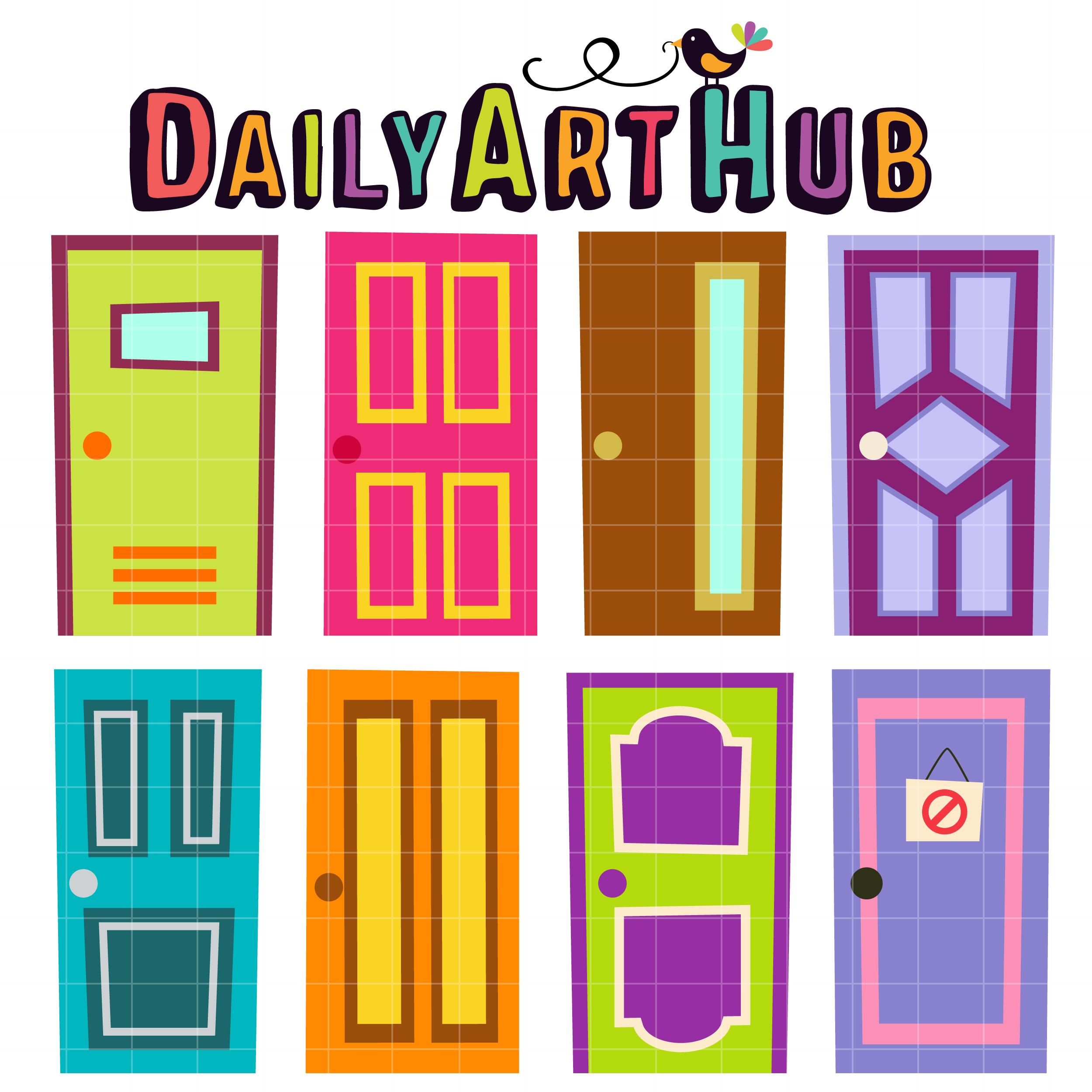 2500x2500 Quirky Doors Clip Art Set Daily Art Hub