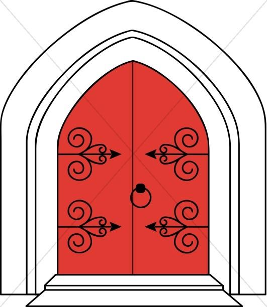 531x612 Church Doors In Outline Church Clipart