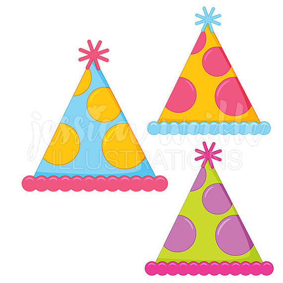 570x570 Polka Dot Party Hat Cute Digital Clipart Party Hat Clip Art