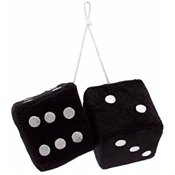 350x350 Vintage Parts 14553 3 Black Fuzzy Dice With White