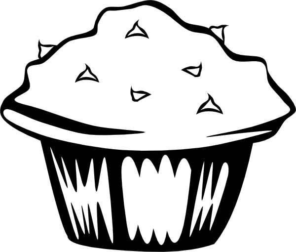 600x510 Double Chocolate Muffin (B And W) Clip Art
