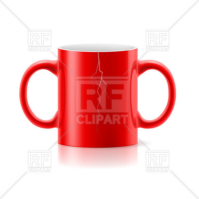 400x400 Red Mug With Two Handles On Each Side On White Background Royalty