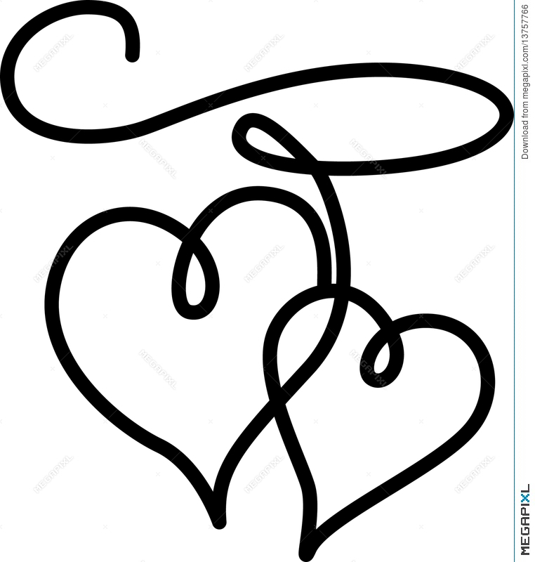 762x800 Double Hearts Connected By A Rope Illustration 13757766