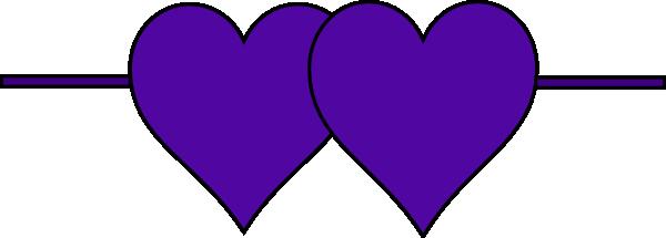 600x215 Double Hearts Line Clip Art