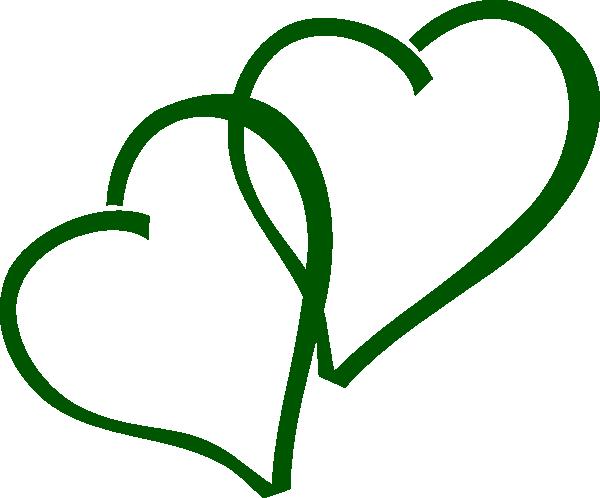 600x498 Green Double Hearts Clip Art