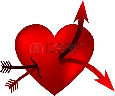 450x377 Images Of Double Hearts With Arrow Clipart