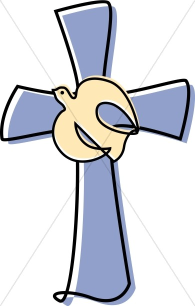 390x612 Lavendar Cross With A Dove Clipart Cross Clipart