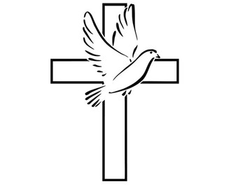 340x270 Dove Cross Silhouette Svg Dxf File Instant Download Silhouette