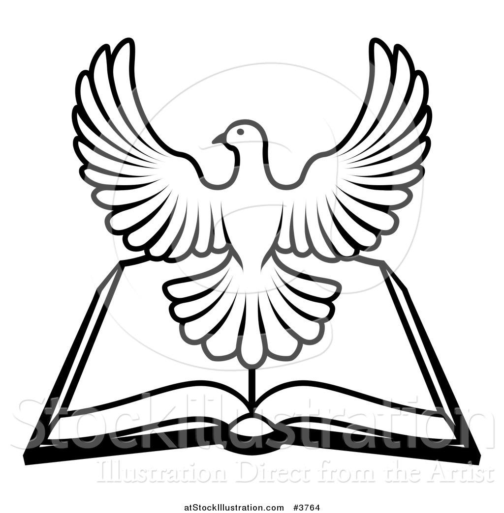 1024x1044 Vector Illustration Of A Blackd White Holy Spirit Dove Over