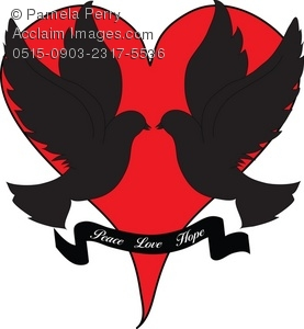 277x300 Clip Art Illustration Of Doves Over A Heart Silhouette