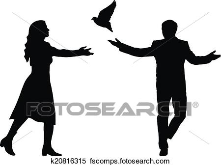 450x338 Clipart Of Concept Of Love Or Peace. Silhouettes Girl And Guy